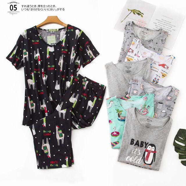 New Plus Size Pajamas for Women Summer Short Sleeves Calf Length Pants Pijama Mujer V Neck Printing Loungewear Pyjamas Sleepwear