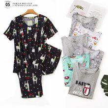 Nuovo Più Il Formato Pigiami per le Donne di Estate Maniche Corte di Vitello Lunghezza Pantaloni Pijama Mujer Con Scollo A V Stampa Pigiama Pigiami Degli Indumenti Da Notte