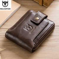 BULLCAPTAIN hombres marca de cuero genuino RFID cartera hombre organizador monedero bolsillos Slim moda cremallera abrazadera billetera tarjetero