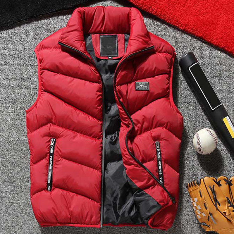 Plus Size 8XL Cotton Padded Mens Vests Winter Badge Sleeveless Stand Collar Male Quilted Jackets Casual Thicken Warm Men's Vest