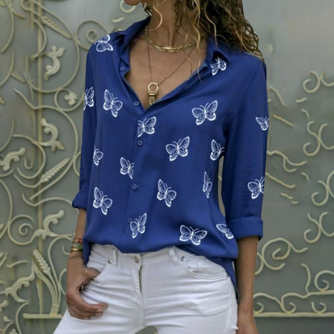 Fashion Women's Butterfly Print Blouse Shirt 2021 Spring Summer Casual Long Sleeve V Neck Ladies Buttons Tops Loose Blouses