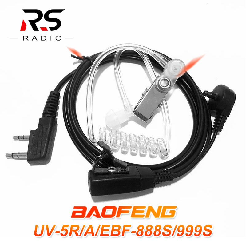 BAOFENG PTT Earpiece Air Acoustic Tube Headset For Walkie Talkie Microphone For BF-888S UV-5R UV-5RA UV-5RE UV-82 UV-6R