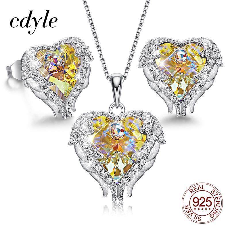 Cdyle Romantic Wedding Yellow Crystal Angel Wing Heart Pendant Necklace Earrings with Zircon 925 Silver Women Jewelry Set