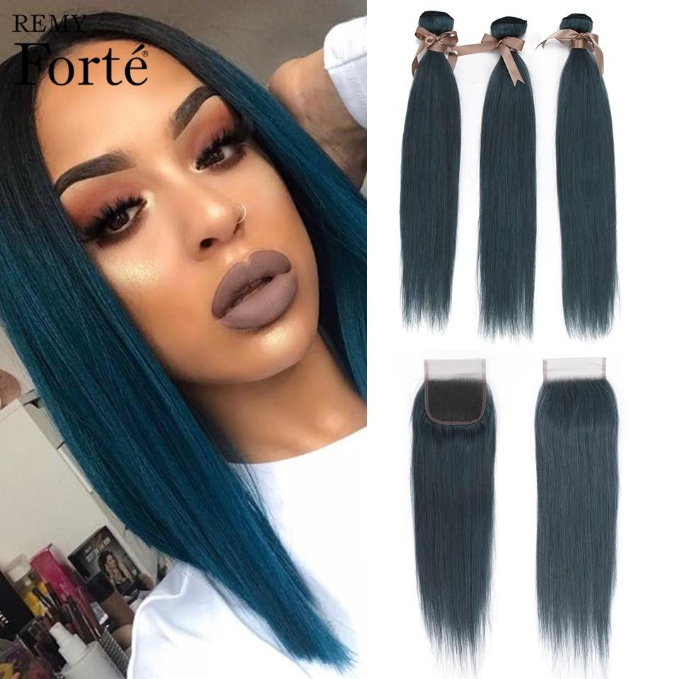Remy Forte Straight Bundles With Closure 26 Inch Blue Colored Bundles With Closure 100% Brazilian Hair Weave Bundles 3/4 Bundles