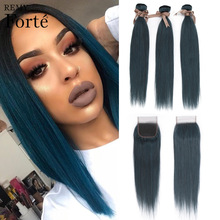 Straight-Bundles Closure Blue 100%Brazilian-Hair with 26inch Forte Remy