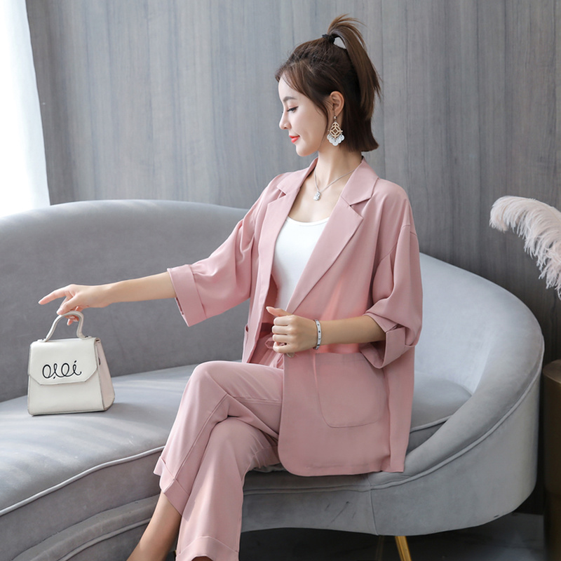 Fashion Summer Women 2 Piece Set New Fashion OL Office Lady Casual Suit Two-piece Jacket And Pants Twinset Korean Style Chic
