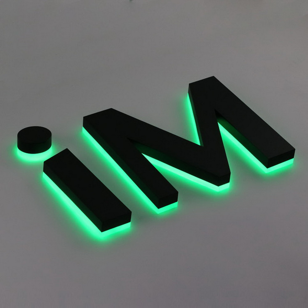 3d Corrosion-resistant Green Halo Lit Metal Letters Acrylic Backside With Lights Exterior Business Signage