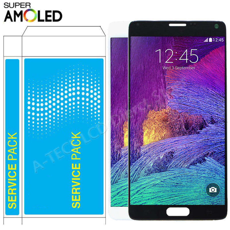 ORIGINAL AMOLED N910 <font><b>LCD</b></font> For <font><b>Samsung</b></font> <font><b>Note</b></font> <font><b>4</b></font> <font><b>LCD</b></font> <font><b>Display</b></font> <font><b>Touch</b></font> <font><b>Screen</b></font> Frame Assembly For Galaxy <font><b>Note</b></font> <font><b>4</b></font> N910C N910F <font><b>LCD</b></font> Repair image
