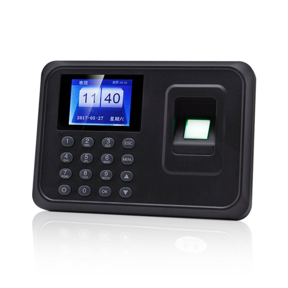 H1 Fingerprint Attendance Machine LCD Finger Scanner Time Card Locker Free Software Password For Security System