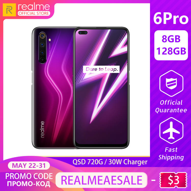 realme 6 Pro Global Version Mobile Phone 8GB RAM 128GB ROM 6Pro Snapdragon 720G 90Hz Display 30W Flash Charge 4300mAh Cellphone image