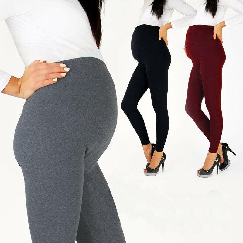 Women's Full Length Maternity Leggings Ladies Black Cotton Blend  Leggings High Waist Nursing Wear Pregnancy Warm Pants