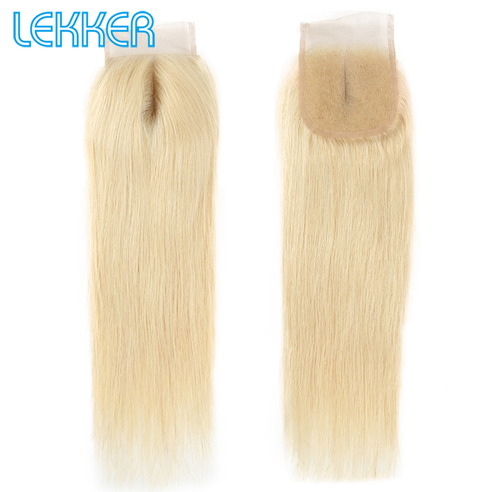 Lekker Hair 613 Straight Brazilian Hair Transparent Lace Closure with Baby Hair 8-20 inches Honey Blonde Remy Hair