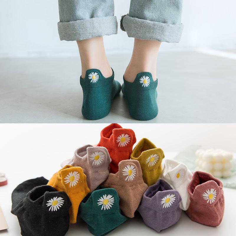 1 paar Stickerei Multicolor Daisy Frauen Socken 100% Baumwolle Chrysantheme Ankle Socken Frauen Frühling Sommer
