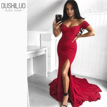 Arabic Red Satin Mermaid Long Evening Dress Sexy Off The Shoulder Sleeveless Split Sweep Train Fishtail Prom Dresses Party Wear фото