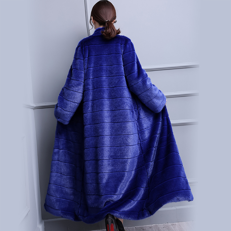 Nerazzurri Extra Long Duster Faux Fur Coat Blue Warm Luxury Fashion 2019 Runway Plus Size Winter Fake Mink Fur Overcoat 5xl 6xl