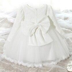 Детское платье для девочек 1 год рождения, белое платье для крещения, платье принцессы, свадебное платье для малышей, платье для крещения нов...