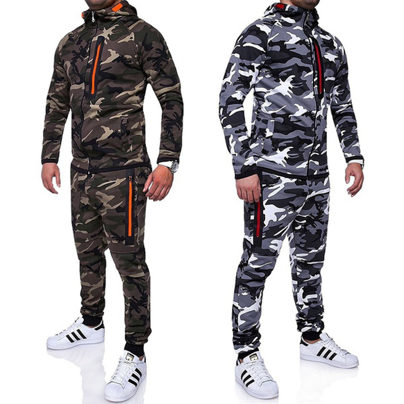 ZOGAA Autumn Men Camouflage Hoodies Tracksuit Zipper Casual 2 Piece Sets Tracksuits Male Sweatshirt Sweatpants Jogger Sport Suit