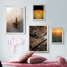 цена Ferris Wheel Sunset Nordic City Wall Art Canvas Painting Nordic Posters And Prints Landscape Wall Pictures For Living Room Decor