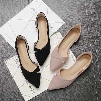 Women Flats Pink Black Pure Color Plus Small Size 33 34 Large 41 42 43 44 Suede Leather Pointed Toe Office Lady Flat Heel Shoes