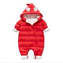 aby Winter Hooded Rompers Girls Thick Cotton Warm Snowsuit Newborn Hooded Overalls Children Snow Clothing Duck Down Jumpsuit