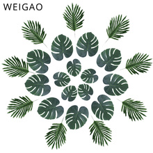 WEIGAO מלאכותי עלים דקל טרופי צמח עלים הוואי ואאו ספקי צד קישוטי אלוהה ג ונגל חוף יום הולדת דקור