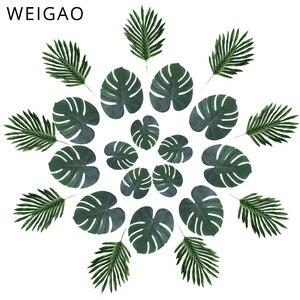 Image 1 - WEIGAO מלאכותי עלים דקל טרופי צמח עלים הוואי ואאו ספקי צד קישוטי אלוהה ג ונגל חוף יום הולדת דקור
