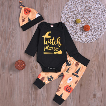 Halloween Letter Bodysuit +Cute Cartoon Pants +Hat Outfit Set
