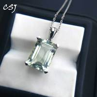 CSJ elegant natural green amethyst pendant with gemstone 6.5ct sterling 925 silver fine jewelry for women girl gift party box