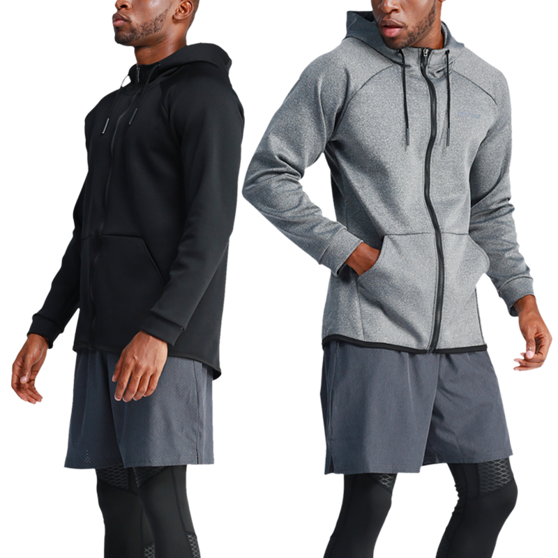 Running Jacket Gym Men Sports Coat Fitness Long Sleeve Hooded Tight Hoodies Zipper Slim Hiking Sweatshirts Male Training Jackets