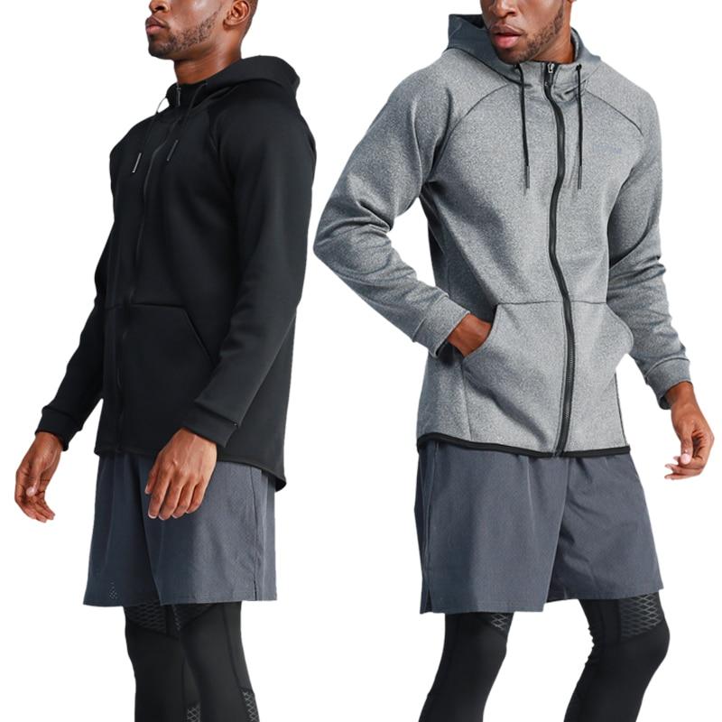 Running Jacket Gym Men Sports Coat Fitness Long Sleeve Hooded Tight Hoodies Zipper Slim Hiking Sweatshirts Male Training Jackets