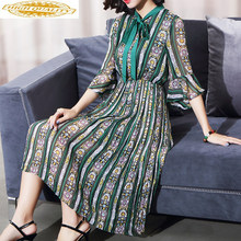 Summer Chiffon Dress Women Floral Bohemian Pleated Dress Elegant Midi Beach Dresses Korean Vestidos De Fiesta KJ2013(China)