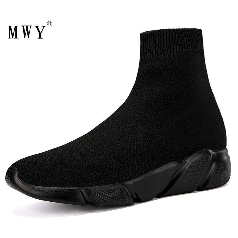 MWY Elastische Beiläufige Socken Schuhe Version Der Dicken Turnschuhe Outdoor Schuhe Frau Wohnungen Weibliche Müßiggänger Chaussure Femme
