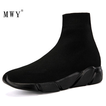 MWY Elastic Casual Socks Shoes Version Of The Thick Sneakers Shoes Outdoor Footwear Woman Flats Female Loafers Chaussure Femme mwy fashion casual shoes woman comfortable breathable mesh soft sole female platform sneakers women chaussure femme basket femme