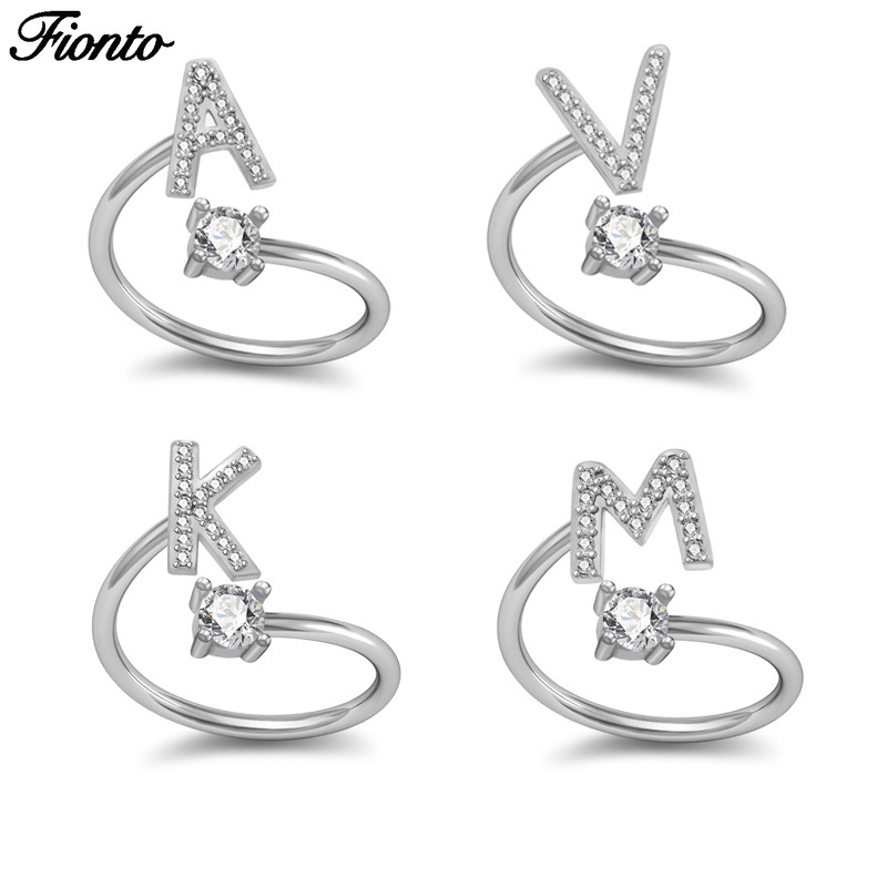 Silver-Ring Jewelry Rhinestone 26-Letters Women Open Female for Engagement-Ring Party-Gift