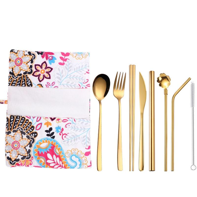 Hot Sale Dinnerware Set Portable Chopsticks Forks Knives Spoons Korean Kitchen Cutlery Set Adult School Stainless Steel Cutlery in Dinnerware Sets from Home Garden