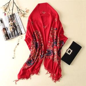 Image 3 - 2020 럭셔리 브랜드 여성 스카프 고품질 자 수 겨울 캐시미어 스카프 레이디 shawls 및 랩 여성 pashmina echarpe