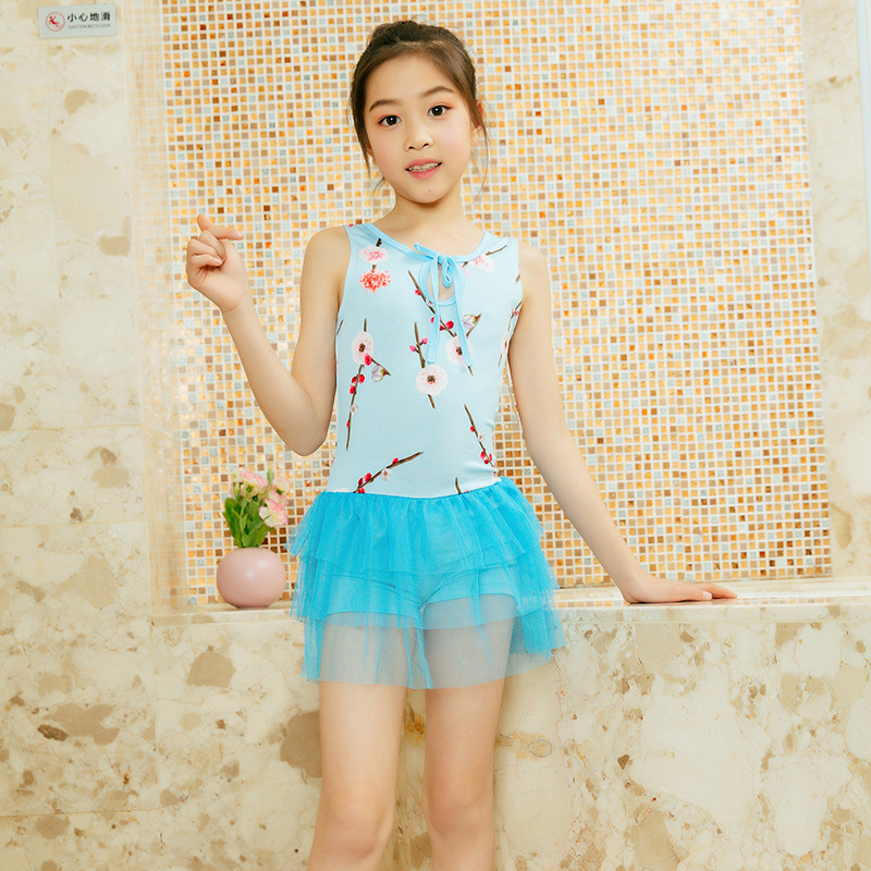 New Style Chinese-style KID'S Swimwear Peach Blossom Qmilch Gauze Children One-piece Swimming Suit 6-9-Year-Old Girls Swimwear