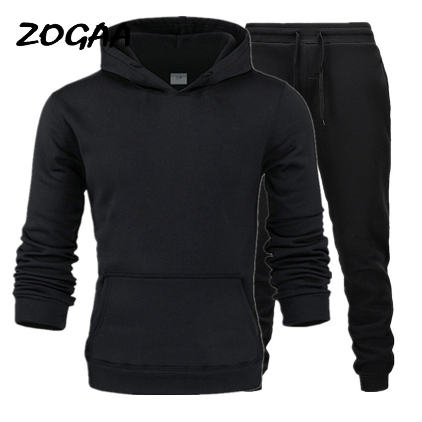 ZOGAA 2020 Autumn And Winter Men's Sweater Suit Hooded Plus Velvet Sweater Solid Color Sweater Multicolor Optional Casual Suit