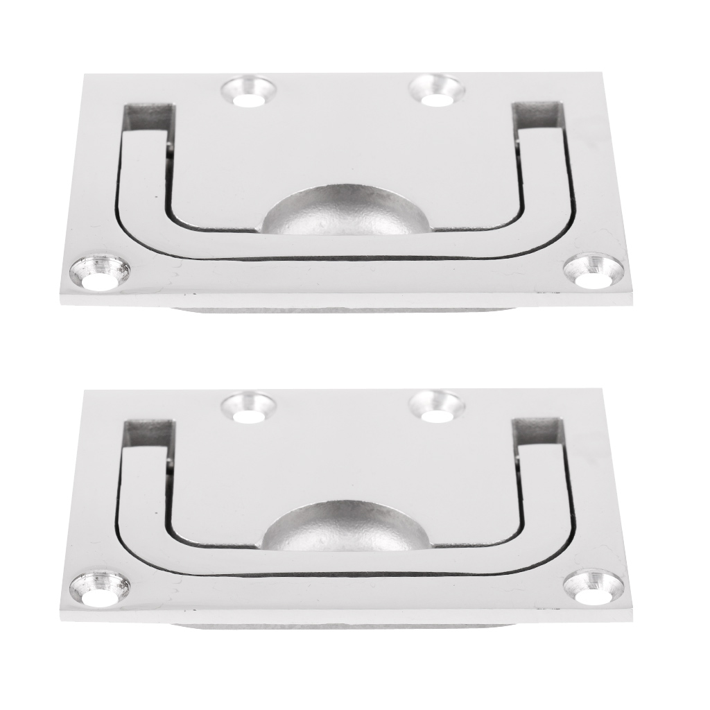 2 Piece Flush Lift Ring / Hatch Pull Long Handle 75mm x 55mm Stainless Steel 316 - Boat/Marine