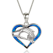 Hand in Hand Love Heart Pendant Necklace White Blue Opal Mom Necklaces For Women Vintage Rose Gold Silver Color Chain Necklace