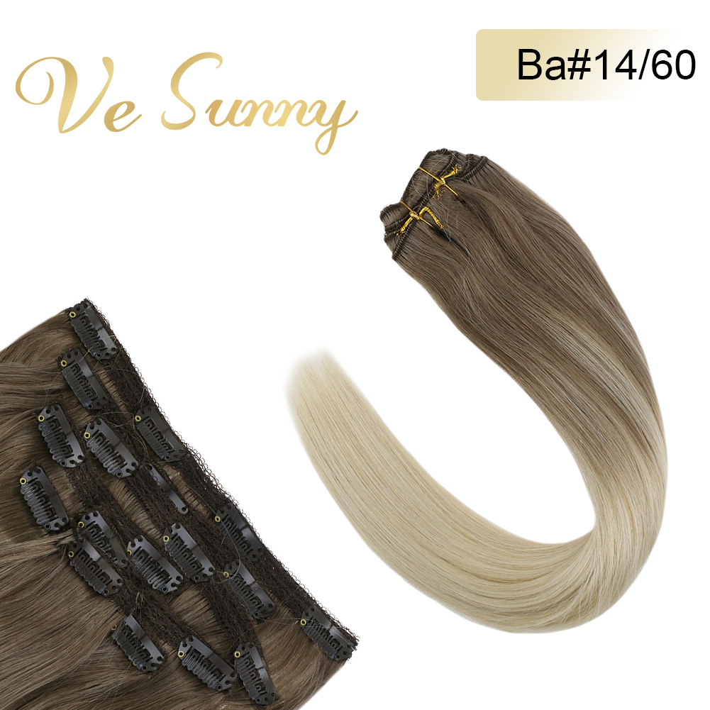 VeSunny Clip In Hair Extensions 100% Real Human Hair 7pcs Clip On Extensions Balayage Ombre Blonde #14/60 120gr