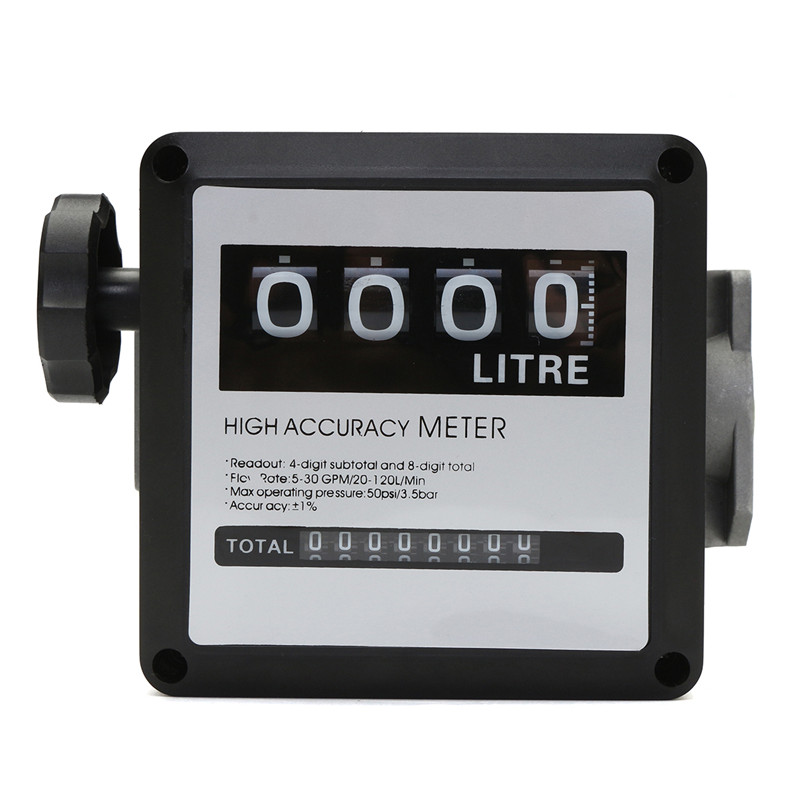 1Pcs FM-120 4 Digital Gasoline Fuel Petrol Oil Flow Meter 20-120L/Min Four Digital For Diesel Fuel Oil Flow Meter Counter