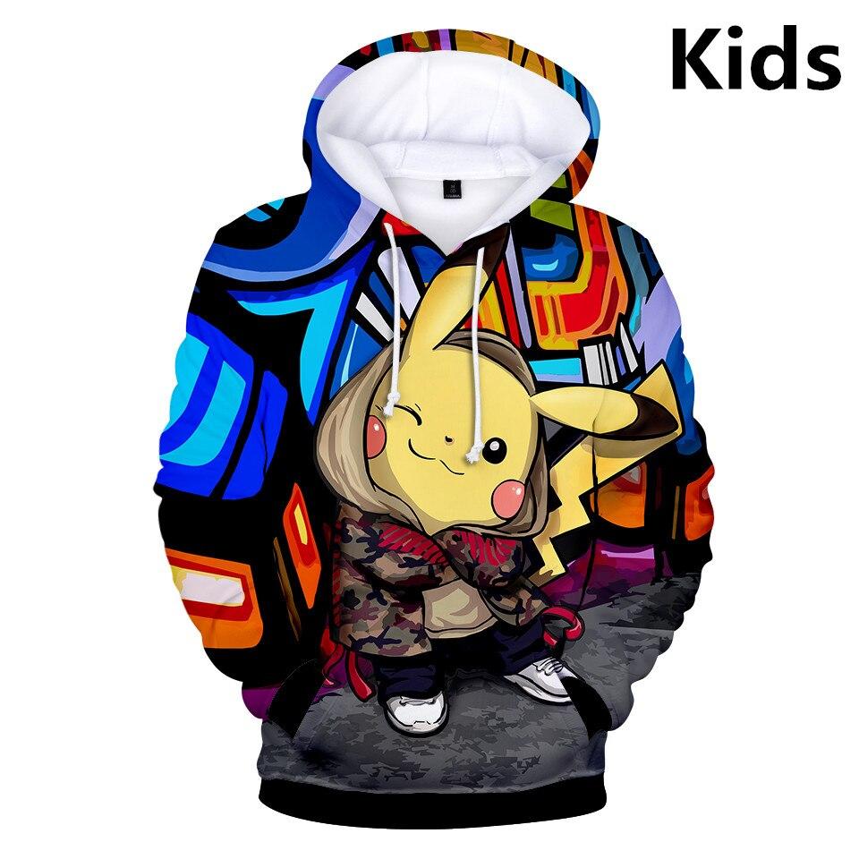2 To 13 Years Kids Hoodies Pokemon Pikachu 3d Printed Boys Girls Hoodie Game Cartoon Sweatshirt Casual Children Clothes