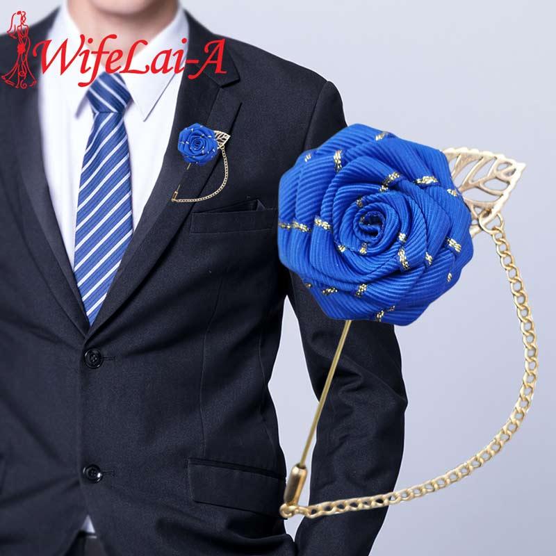 Royal Blue Satin Rose Ceremony Flower Handmade Wedding Corsage Brooch Groom Groomsmen Boutonniere For Wedding Accessories XH0015