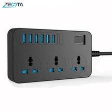 Dán Cường Lực Thông Minh USB Ổ Cắm Adapter Tăng Bảo Vệ 3 Cách AC Đa Năng Ổ Cắm Điện Cắm EU/Mỹ Anh/âu Dây Nối Dài 2M
