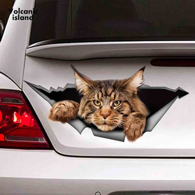 HotMeiNi13cm x 6.1cm Maine Coon Car Sticker Torn Metal Decal Reflective Sticker 3D Funny Big Cat Decal Car Styling Waterproof