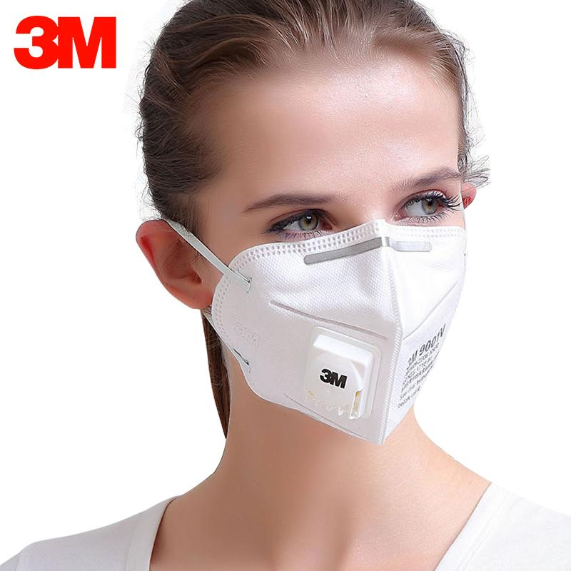 3M 9001V 1pc KN95 Particulate Respirator Protective Masks Safety Mask With Valve PM2.5 Haze Fog Dustproof Mouth Mask Outdoor