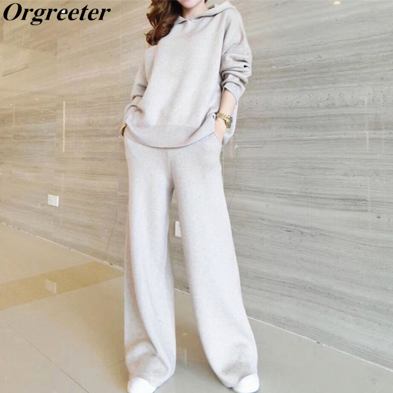 Wide Leg Pants Cashmere Sweater Suit Female 2019 Winter Loose Hooded Knitted Pullover Tops And Casual Tracksuit Women Knit
