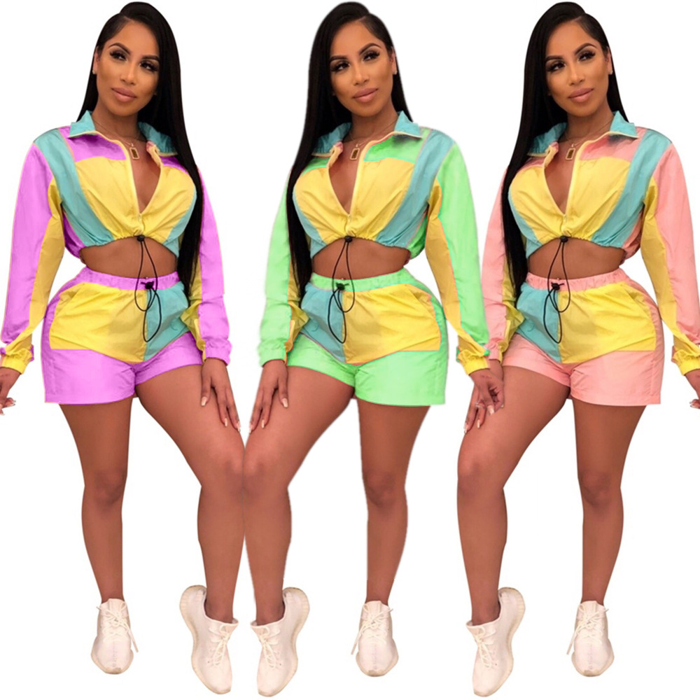 QJ5240  Major Platform Hot Sales Europe And America WOMEN'S Dress Multi-color Mixed Colors Long Sleeve Shorts Sports