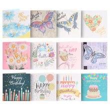 Pintura de diamante 5D DIY, tarjeta de felicitación con forma especial de mariposa, feliz, Postales de cumpleaños, manualidad para regalo, 1/4/6/12 Uds.